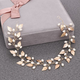 Brautschmuck Haarband Gold Perlen Braut Haardraht Perlen Haarschmuck Gold N200082