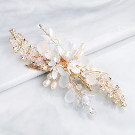 Fascinator Braut Haarklammer Blumen Perlen Gold Haarschmuck Blüten N40822
