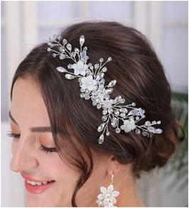 Haardraht Blumen Perlen Silber Haarschmuck Braut Kopfschmuck Haarschmuck Hochzeit N2307