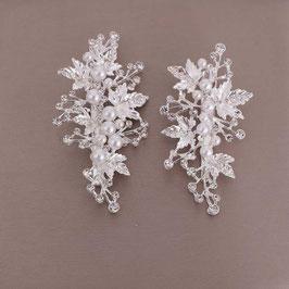 Set 2 Stk. Haarklammern Silber Perlen Strass Haarschmuck Braut Kopfschmuck Hochzeit N4779 Haarklammer Braut Haarschmuck Hochzeit
