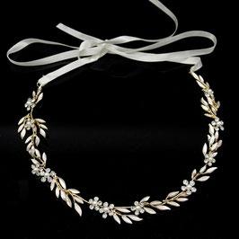 Haardraht Gold Blumen Strass Perlen Haarschmuck Braut Haarschmuck Hochzeit N22247