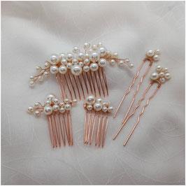 Haarschmuck Set 5 Stk. N7150 Haarschmuck Braut Haarschmuck Hochzeit Haarschmuck Rosegold Perlen
