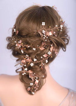 Haardraht Rosegold Perlen Haardraht Braut Haarschmuck Braut Haarschmuck Hochzeit N22178-Rosegold