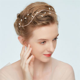 Braut Haarband-Haardraht Gold Perlen Strass Vintage N2214 Brautschmuck Haarschmuck Gold Perlen
