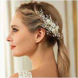 Haarkamm Braut Haarkamm Perlen Blumen Silber Haarschmuck Braut Haarschmuck Hochzeit N3239
