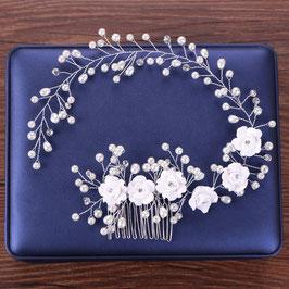 Brautschmuck Haarkamm-Haardraht Perlen Blumen Haarschmuck Blumen Perlen Blüten Haarkamm N30001