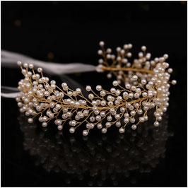 Haarband Perlen Gold Haarschmuck Braut Haarschmuck Hochzeit N2827-Gold