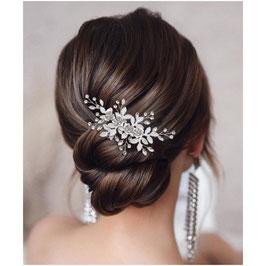 Haarklammer Silber Blumen Strass Haarschmuck Blüten N4471