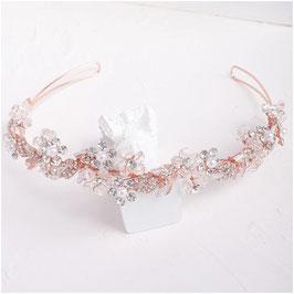Diadem Rosegold Strass Blumen Perlen Haarschmuck Braut Haarschmuck Hochzeit N1727