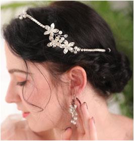 Haardraht Silber & Ohrringe Silber Blumen Strass N7084 Haarschmuck Hochzeit Haarschmuck Festlich
