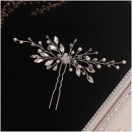 Set 2. Stk. Haarnadeln Perlen Strass Silber Haarschmuck Braut Haarschmuck Hochzeit N6826