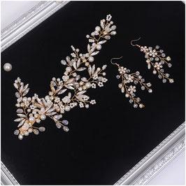 Haarklammer Gold Blumen Perlen & Ohrringe Gold Blumen Perlen N4990 Haarschmuck für die Braut