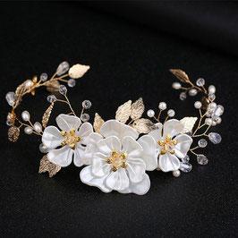Haarschmuck Gold Blumen Perlen Braut Haardraht Perlen Blumen Gold Brautschmuck Blumen Perlen Gold N22015