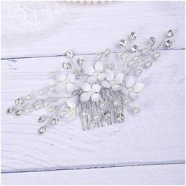 Haarschmuck Braut Haarkamm Blumen Perlen Silber N35011 Haarschmuck Hochzeit