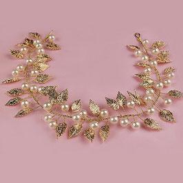 Haarband Haardraht Gold Perlen Brautschmuck Gold Braut Kopfschmuck Haarschmuck Gold N2588