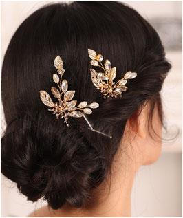 Set 2. Stk. Haarnadeln Gold Perlen Strass Haarschmuck Braut Haarschmuck Hochzeit N6834