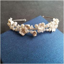 Diadem Blumen Perlen Silber Haarschmuck Braut Haarschmuck Hochzeit N1802
