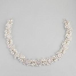 Haarschmuck Braut Haarband Blumen Perlen Strass Silber Haardraht Blumen Perlen N21090 Haarschmuck Hochzeit
