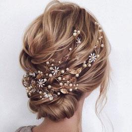 Haarschmuck Braut Haardraht Gold Perlen Blumen Strass Vintage Haarschmuck Hochzeit N2462