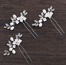 Set 3 Stück Haarnadeln Silber Blumen Perlen Haarnadeln Braut Haarschmuck N6317