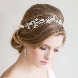 Haarband Silber Perlen Strass Haardraht Perlen N2325-Silber Haarschmuck Braut Stirnband Hochzeit