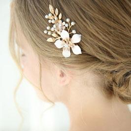 Haarschmuck Braut Haarklammer Gold Blumen Perlen Haarschmuck Hochzeit Haarschmuck Gold N40188