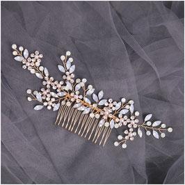 Haarschmuck Braut Haarkamm Blumen Perlen Gold N32075 Haarschmuck Hochzeit