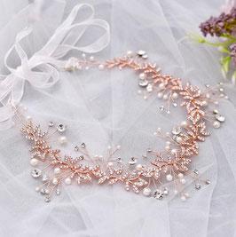 Haarband Rosegold Strass Perlen Haarband Braut Haarschmuck Braut Haarschmuck Hochzeit N2325-Rosegold