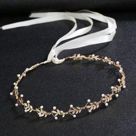Haarband Gold Perlen Haarband Braut Kopfschmuck Braut Haarschmuck Gold N2886