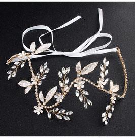 Braut Haarband-Haardraht Gold Blumen Strass Vintage N2357 Brautschmuck Haarschmuck Festlich