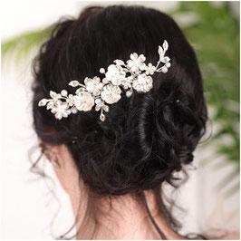 Haarkamm Silber Blumen Strass Perlen Haarschmuck Braut Haarschmuck Hochzeit Haarschmuck Kamm Silber N3201