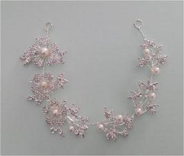 Haarschmuck Braut Haardraht-Haarband Perlen Strass Blumen Silber N2615 Kopfschmuck Hochzeit