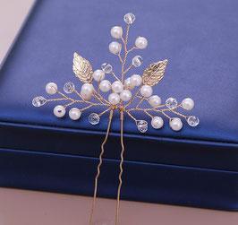Braut Haarnadeln Gold Perlen Haarschmuck Hochzeit (Set 2 Stück) N6251 Haarschmuck Gold Perlen