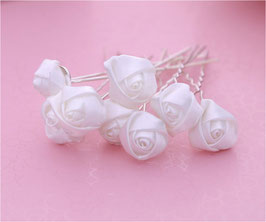 (Set 10 Stück) Haarnadeln mit hochwertiger Blüte Braut Haarnadeln Blumen Haarnadeln Silber N60111