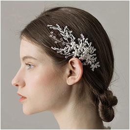 Brautschmuck Haarklammer Blumen Perlen  Strass Silber N4102 Haarschmuck Braut Haarschmuck Hochzeit