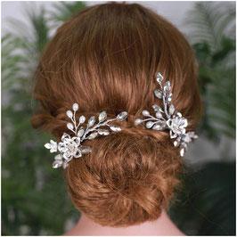 Brautschmuck Haarnadeln Silber Haarschmuck Hochzeit (Set 2 Stück) N6294