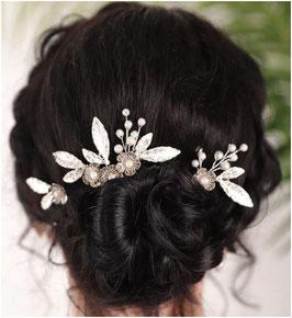 Haarschmuck Set - Haarkamm Blumen  Silber 1. Stk & Haarnadeln Silber 2. Stk. Haarschmuck Braut Haarschmuck Hochzeit N302209
