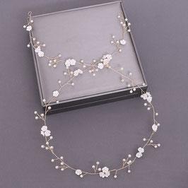 Haardraht Blumen Perlen Gold Haardraht Braut Haarschmuck Braut Haarschmuck Hochzeit N2377-Gold