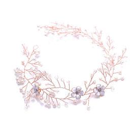 Haardraht Blumen Perlen Rosegold Haarschmuck Braut Kopfschmuck Haarschmuck Hochzeit N2308-Rosegold