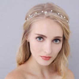 Brautschmuck Haarband Silber Perlen Blumen Strass Haarband Braut Kopfschmuck Hochzeit Haarschmuck Braut Haarschmuck Hochzeit N23440