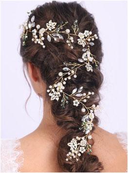 Haarschmuck Braut Haardraht Braut Haarschmuck Gold Grün Perlen Blumen N2494 Brautschmuck Haardraht Haarschmuck Festlich