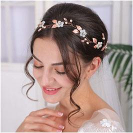Haarband-Haardraht Blumen Perlen Rosegold Haarschmuck Braut Kopfschmuck Haarschmuck Hochzeit N2305-Rosegold