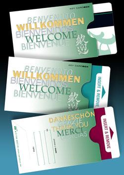 """50 keycard Hüllen - Design """"WILLKOMMEN 5-sprachig"""" Version: grün"""