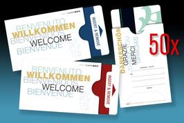 """50 keycard Hüllen - Design """"WILLKOMMEN 5-sprachig"""" Version: weiß"""