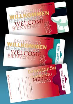 """50 keycard Hüllen - Design """"WILLKOMMEN 5-sprachig"""" Version: rot"""