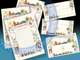 3 Weihnachtswunschzettel / Christkindlbriefe mit 3 passenden Kuverts