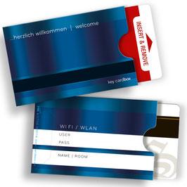 """50 keycard Hüllen - blau """"... herzlich willkommen / welcome"""" Version: WLAN"""