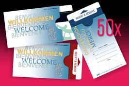 """50 keycard Hüllen - Design """"WILLKOMMEN 5-sprachig"""" Version: blau"""