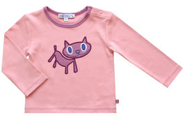 Baby T-Shirt mit Katzenapplikation in dusty rose