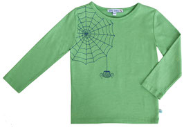 T-Shirt mit Spinnen Stickerei in leaf green
